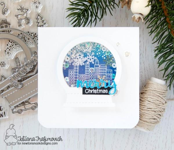 Merry Christmas #handmade card by Tatiana Trafimovich #tatianacraftandart - Snow Globe Shaker Die by Newton's Nook Designs #newtonsnook