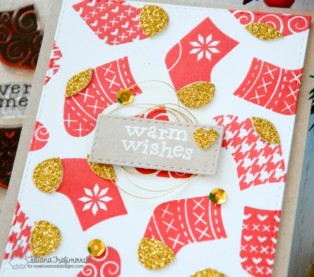 Warm Wishes #handmade card by Tatiana Trafimovich #tatianacraftandart - Stylish Stockings stamp set by Newton's Nook Designs #newtonsnook