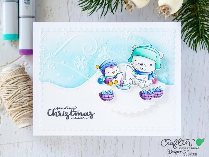 Sending Christmas Cheer #handmadecard by Tatiana Trafimovich #tatianacraftandart - Arctic Pals stamp set by Craftin Desert Divas #craftindeserdivas