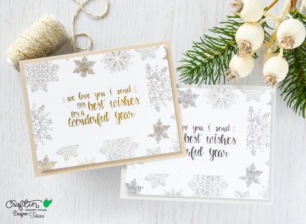 Christmas Foiled #handmadecard by Tatiana Trafimovich #tatianacraftandart - Snowflakes digital stamp set by Craftin Desert Divas #craftindeserdivas