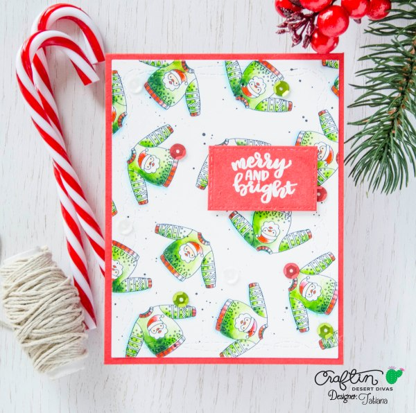 Merry And Bright #handmadecard by Tatiana Trafimovich #tatianacraftandart - Holiday Sweaters stamp set by Craftin Desert Divas #craftindeserdivas