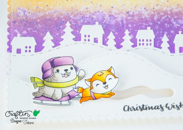 Christmas Wishes #handmadecard by Tatiana Trafimovich #tatianacraftandart - Skating By stamp set by Craftin Desert Divas #craftindeserdivas