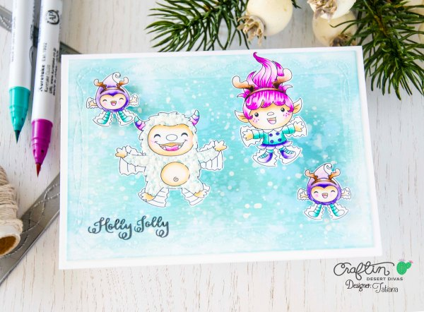 Holly Jolly #handmadecard by Tatiana Trafimovich #tatianacraftandart - Snow Happy stamp set by Craftin Desert Divas #craftindeserdivas