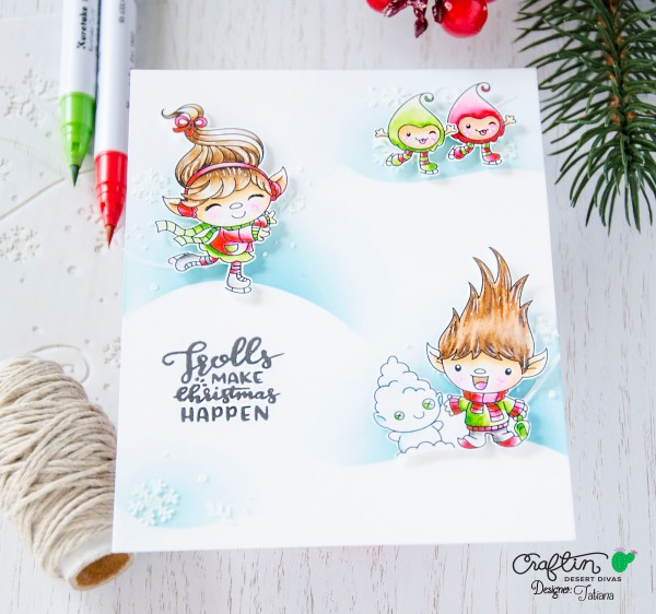 Troll Make Christmas Happen #handmadecard by Tatiana Trafimovich #tatianacraftandart - Snow Happy stamp set by Craftin Desert Divas #craftindeserdivas