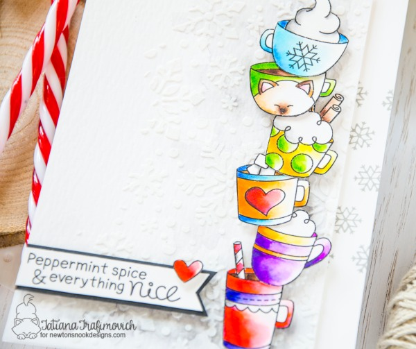 Peppermint Spice And Everything Nice #handmade card by Tatiana Trafimovich #tatianacraftandart - Cup Of Cocoa stamp set by Newton's Nook Designs #newtonsnook
