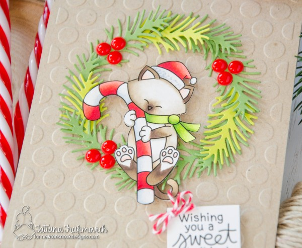 Whishing You A Sweet Holiday #handmade card by Tatiana Trafimovich #tatianacraftandart - Newton's Candy Cane stamp set by Newton's Nook Designs #newtonsnook