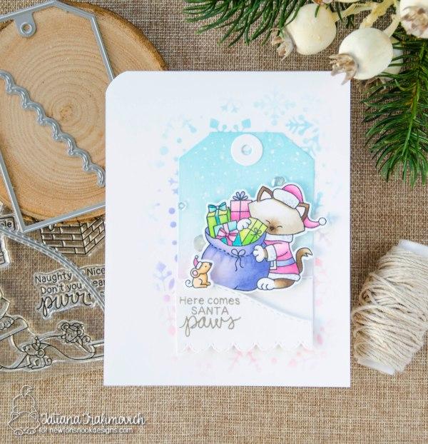 Here Comes Santa Paws #handmade card by Tatiana Trafimovich #tatianacraftandart - Santa Paws Newton stamp set by Newton's Nook Designs #newtonsnook