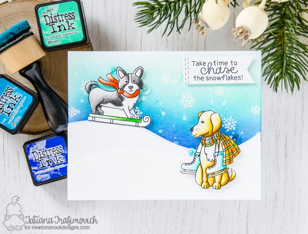 Take Your Time To Chase Snowflakes #handmade card by Tatiana Trafimovich #tatianacraftandart - Winter Woofs stamp set by Newton's Nook Designs #newtonsnook