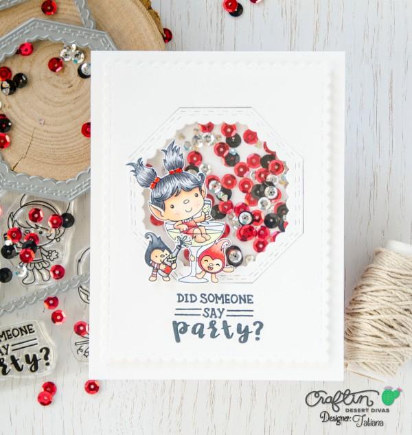 Did someone day party?#handmadecard by Tatiana Trafimovich #tatianacraftandart - Celebration Trolls Stamp Set by Craftin Desert Divas