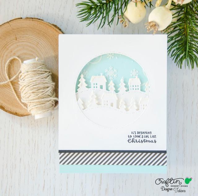 It's Beginning To Look A Lot Like Christmas #handmadecard by Tatiana Trafimovich #tatianacraftandart - Fall Borders Die Set by Craftin Desert Divas #craftindeserdivas