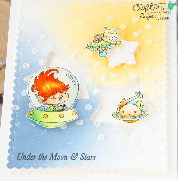 Under The Moon & Stars #handmadecard by Tatiana Trafimovich #tatianacraftandart - Far Out Stamp Set by Craftin Desert Divas