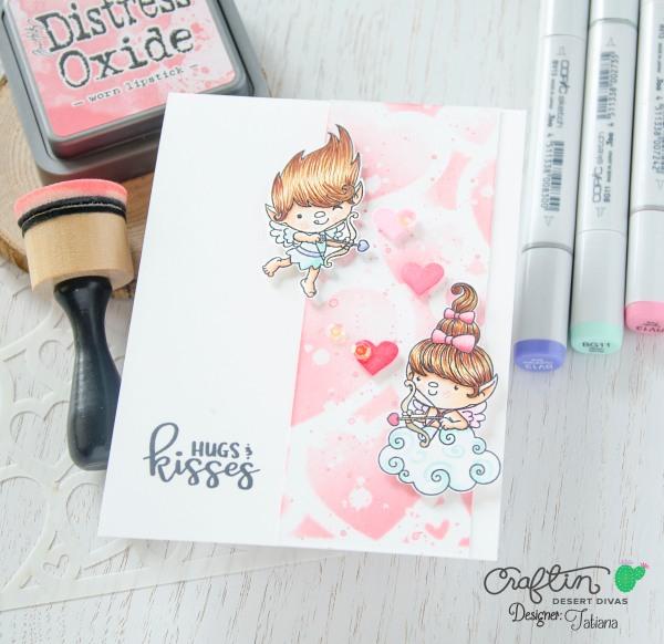 Hugs And Kisses #handmadecard by Tatiana Trafimovich #tatianacraftandart - Hugs And Kisses Stamp Set by Craftin Desert Divas
