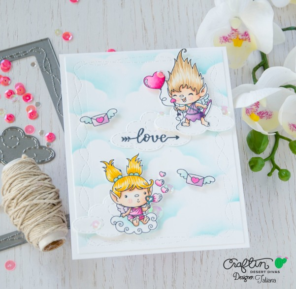 Love #handmadecard by Tatiana Trafimovich #tatianacraftandart - Hugs And Kisses Stamp Set by Craftin Desert Divas