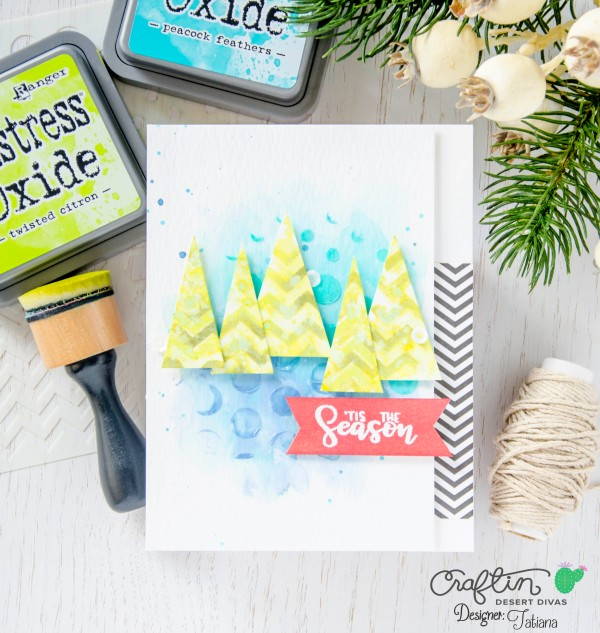 'Tis The Season #handmadecard by Tatiana Trafimovich #tatianacraftandart - Sorted Shapes stencil by Craftin Desert Divas