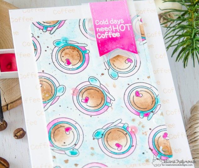 Cold Days Need Hot Coffee #handmade card by Tatiana Trafimovich #tatianacraftandart - Cup Of Cocoa stamp set by Newton's Nook Designs #newtonsnook
