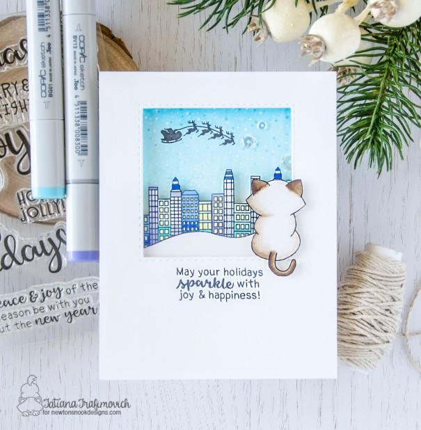 May Your Holidays Sparkle #handmade card by Tatiana Trafimovich #tatianacraftandart - Snow Globe Scenes and Newton's Curios Christmas stamp sets by Newton's Nook Designs #newtonsnook