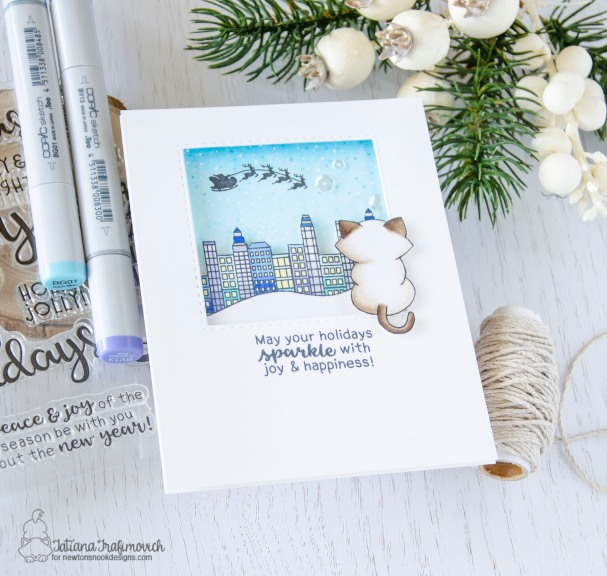May Your Holidays Sparkle #handmade card by Tatiana Trafimovich #tatianacraftandart - Snow Globe Scenes and Newton's Curios Christmas stamp sets by Newton's Nook Designs #newtonsnook