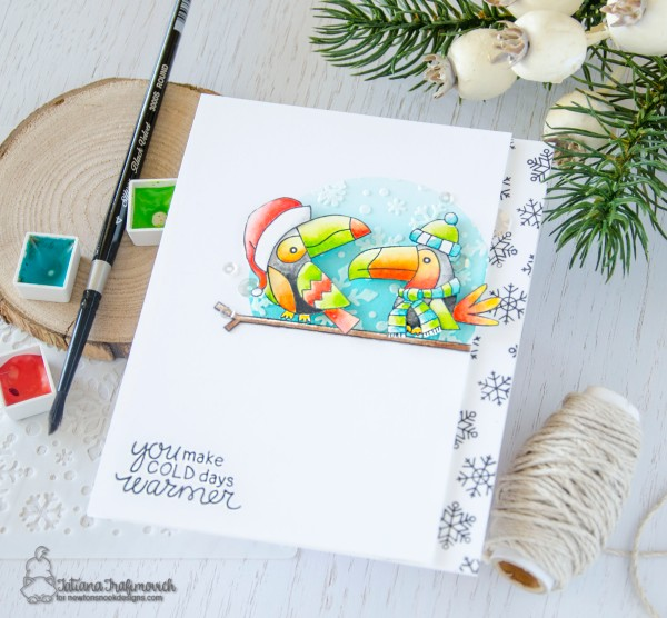 You Make Cold Days Warmer #handmade card by Tatiana Trafimovich #tatianacraftandart - Santa Toucan Party stamp set by Newton's Nook Designs #newtonsnook