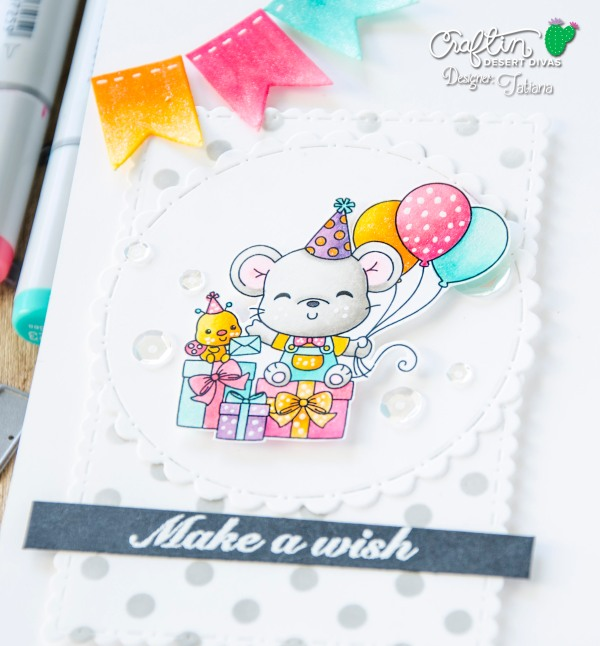 Make A Wish #handmadecard by Tatiana Trafimovich #tatianacraftandart - Sweetest Birthday Stamp Set by Craftin Desert Divas