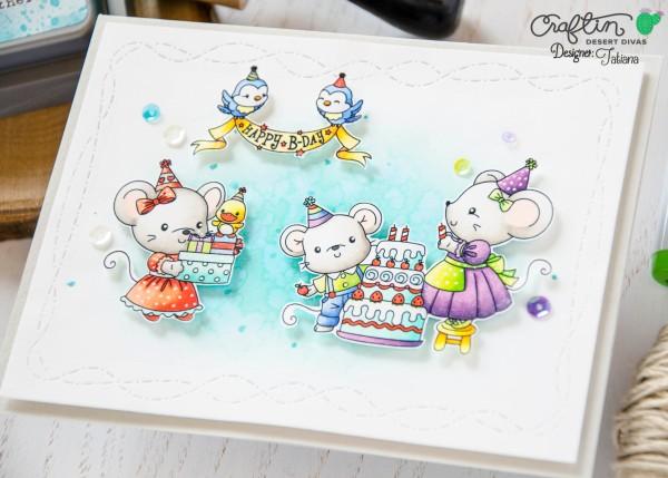 Happy B-Day #handmadecard by Tatiana Trafimovich #tatianacraftandart - Sweetest Birthday Stamp Set by Craftin Desert Divas