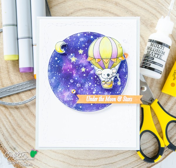 Under The Moon And Stars #handmadecard by Tatiana Trafimovich #tatianacraftandart - Up, Up & Away Stamp Set by Craftin Desert Divas