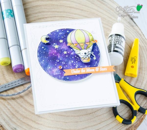 Under The Moon And Stars #handmadecard by Tatiana Trafimovich #tatianacraftandart - Up, Up & Away Stamp Set by Craftin Desert Divas