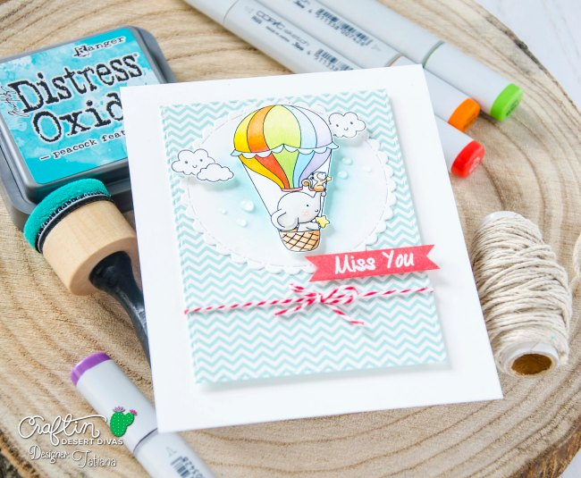 Miss You #handmadecard by Tatiana Trafimovich #tatianacraftandart - Up, Up & Away Stamp Set by Craftin Desert Divas