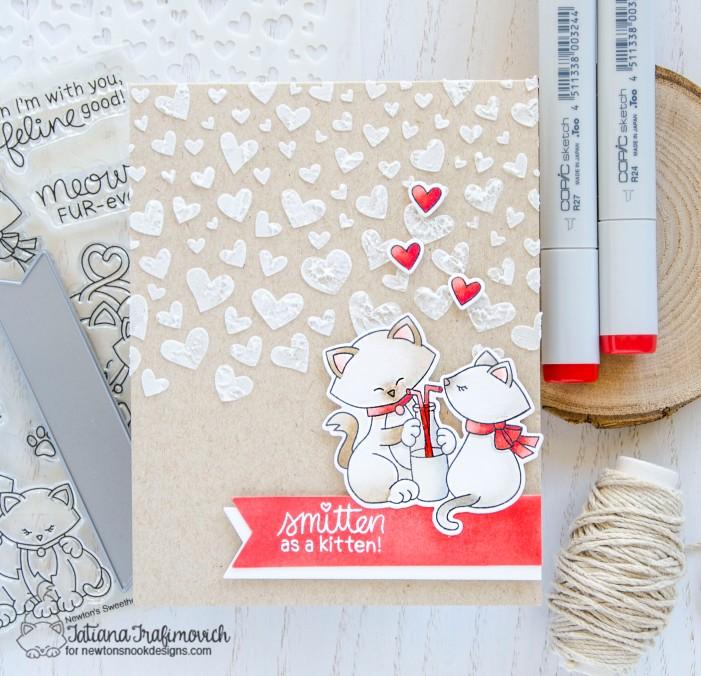 Smitten As A Kitten #handmade card by Tatiana Trafimovich #tatianacraftandart - Newton's Sweetheart stamp set by Newton's Nook Designs #newtonsnook