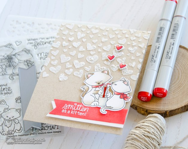 Smitten As A Kitten #handmade card by Tatiana Trafimovich #tatianacraftandart - Newton's Sweetheart stamp set by Newton's Nook Designs #newtonsnook
