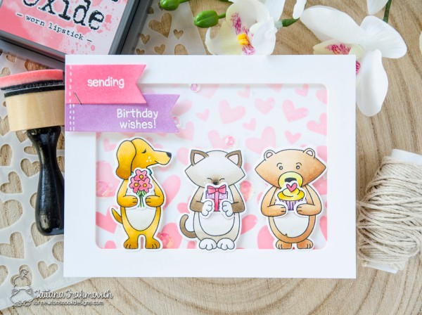 Sending Birthday Wishes #handmade card by Tatiana Trafimovich #tatianacraftandart - Sending Hugs stamp set by Newton's Nook Designs #newtonsnook