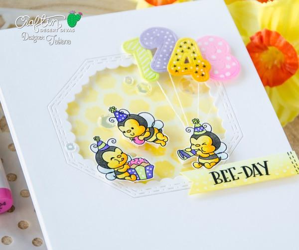 Bee-Day #handmadecard by Tatiana Trafimovich #tatianacraftandart - Bee Cakery Stamp Set by Craftin Desert Divas #craftindesertdivas