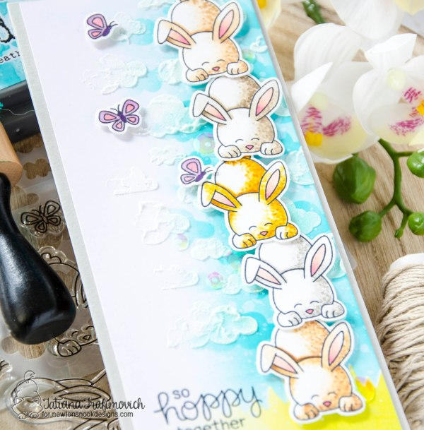 So Hoppy Together #handmade card by Tatiana Trafimovich #tatianacraftandart - Bitty Bunnies stamp set by Newton's Nook Designs #newtonsnook