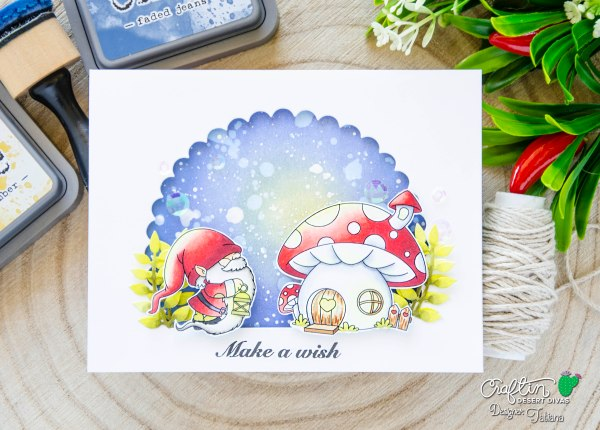 Make A Wish #handmadecard by Tatiana Trafimovich #tatianacraftandart - Gnomie Stamp Set by Craftin Desert Divas