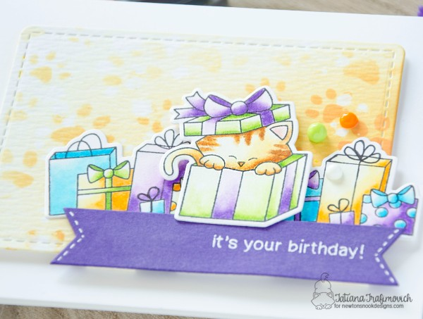 It's Your Birthday #handmade card by Tatiana Trafimovich #tatianacraftandart - Newton's Christmas Cuddles stamp set by Newton's Nook Designs #newtonsnook