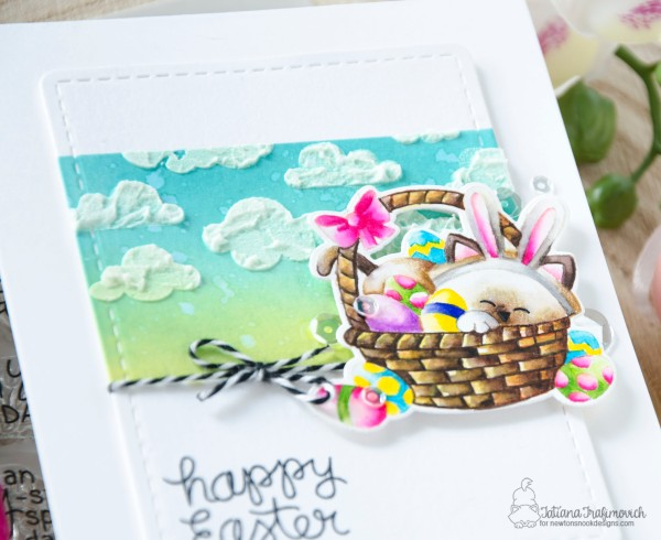 Happy Easter #handmade card by Tatiana Trafimovich #tatianacraftandart - Newton's Easter Basket stamp set by Newton's Nook Designs #newtonsnook