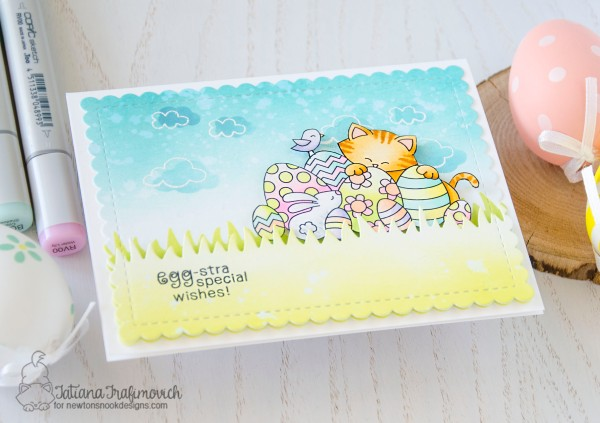 Egg-stra Special Wishes #handmade card by Tatiana Trafimovich #tatianacraftandart - Newton's Easter Basket stamp set by Newton's Nook Designs #newtonsnook