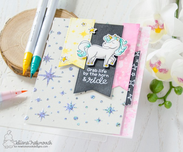 Grab Life By The Horn #handmade card by Tatiana Trafimovich #tatianacraftandart - Believe In Unicorns stamp set by Newton's Nook Designs #newtonsnook