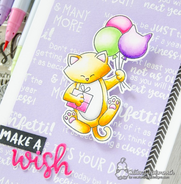 Make a Wish #handmade card by Tatiana Trafimovich #tatianacraftandart - Birthday Essentials stamp set by Newton's Nook Designs #newtonsnook