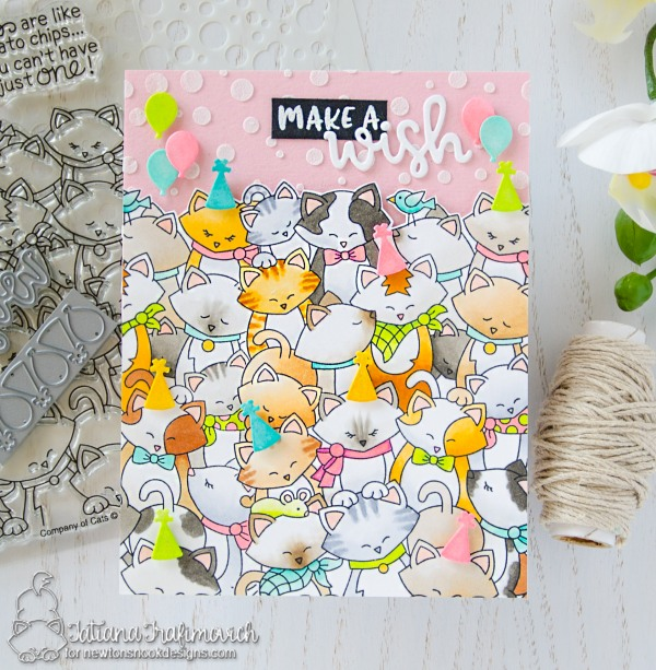 Make A Wish #handmade card by Tatiana Trafimovich #tatianacraftandart - Company of Cats stamp set by Newton's Nook Designs #newtonsnook