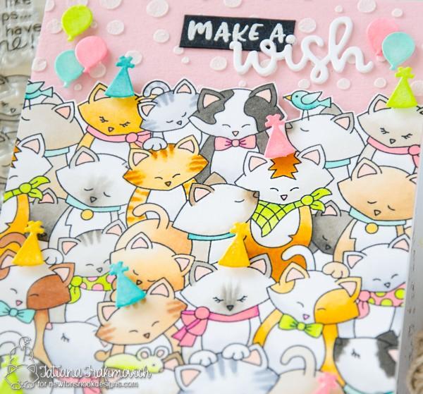 Make A Wish #handmade card by Tatiana Trafimovich #tatianacraftandart - Company of Cats stamp set by Newton's Nook Designs #newtonsnook