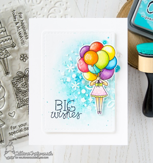 BIG Wishes #handmade card by Tatiana Trafimovich #tatianacraftandart - Holding Happiness stamp set by Newton's Nook Designs #newtonsnook