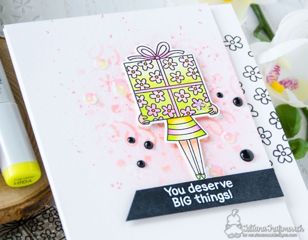 You Deserve BIG Things #handmade card by Tatiana Trafimovich #tatianacraftandart - Holding Happiness stamp set by Newton's Nook Designs #newtonsnook