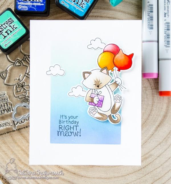 It's Your Birthday Right Meow #handmade card by Tatiana Trafimovich #tatianacraftandart - Newton's Birthday Balloons stamp set by Newton's Nook Designs #newtonsnook