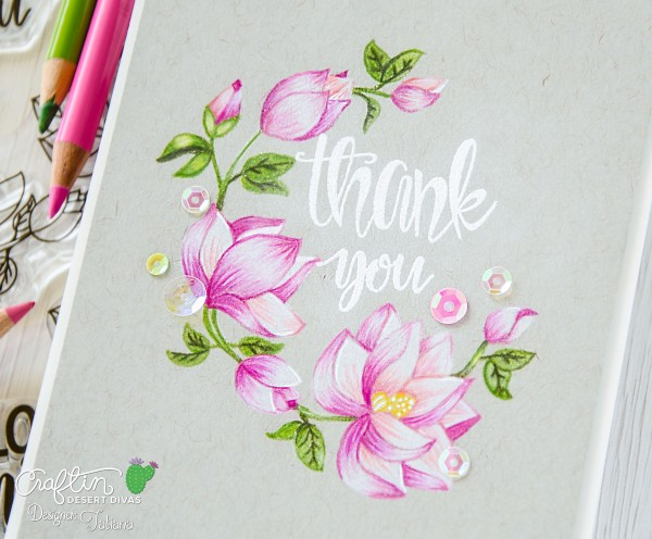 Thank You #handmadecard by Tatiana Trafimovich #tatianacraftandart - Hello Beautiful stamp set by Craftin Desert Divas #craftindesertdivas