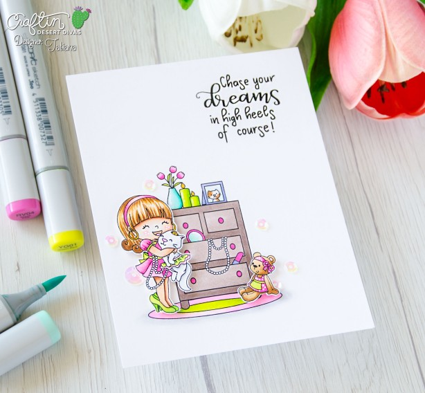 Chase Your Dreams #handmadecard by Tatiana Trafimovich #tatianacraftandart - High Heels stamp set by Craftin Desert Divas #craftindesertdivas