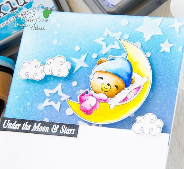 Under The Moon And Stars #handmadecard by Tatiana Trafimovich #tatianacraftandart - Look For Stars stamp set by Craftin Desert Divas #craftindesertdivas