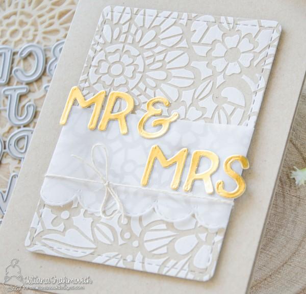 MR & MRS #handmade card by Tatiana Trafimovich #tatianacraftandart - Floral Lace stencil by Newton's Nook Designs #newtonsnook