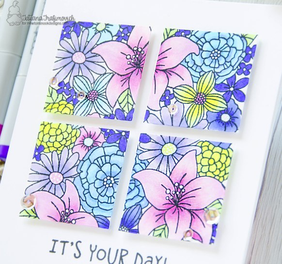 It's Your Day #handmade card by Tatiana Trafimovich #tatianacraftandart - Blooming Botanicals stamp set by Newton's Nook Designs #newtonsnook
