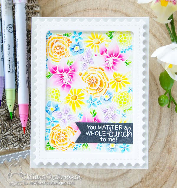 You Matter A Whole Bunch To Me #handmade card by Tatiana Trafimovich #tatianacraftandart - Blooming Botanicals stamp set by Newton's Nook Designs #newtonsnook