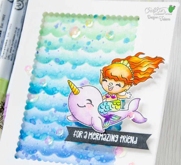 For A Mermazing Friend #handmadecard by Tatiana Trafimovich #tatianacraftandart - Mermaid Trolls stamp set by Craftin Desert Divas #craftindesertdivas